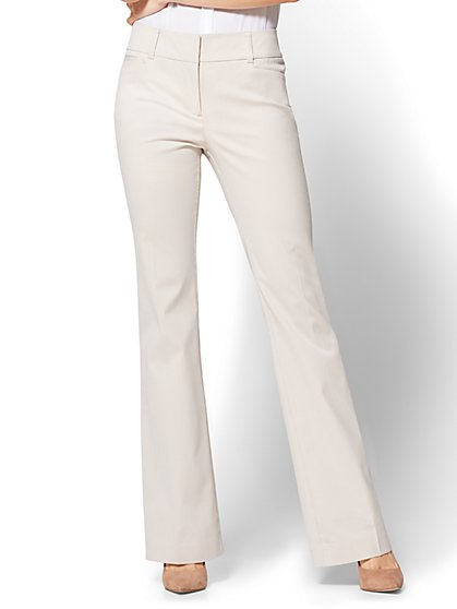 7th Avenue Pant - Bootcut - Signature - Tan Pinstripe - Petite - New York & Company