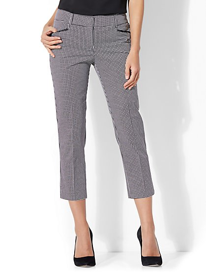 7th Avenue Pant - Crop Straight Leg - Signature Fit - Grid Print - New York & Company