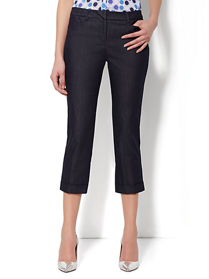 7th Avenue Pant - Cuffed Crop - Hidden Blue