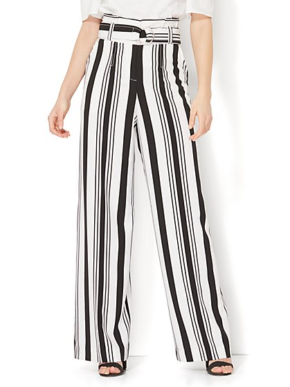 7th Avenue Pant - Paperbag-Waist - Black & White Stripe - New York & Company