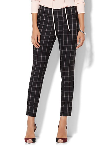 7th Avenue Pant - Pull-On Ankle - Black Plaid  - New York & Company