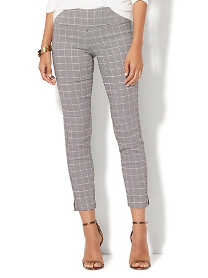 7th Avenue Pant - Pull-On Ankle - Black & Tan Plaid  - New York & Company