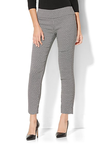 7th Avenue Pant - Pull-On Ankle - Black & White Graphic Print - Tall - New York & Company