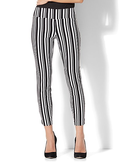7th Avenue Pant - Pull-On Ankle - Black & White Stripe - New York & Company