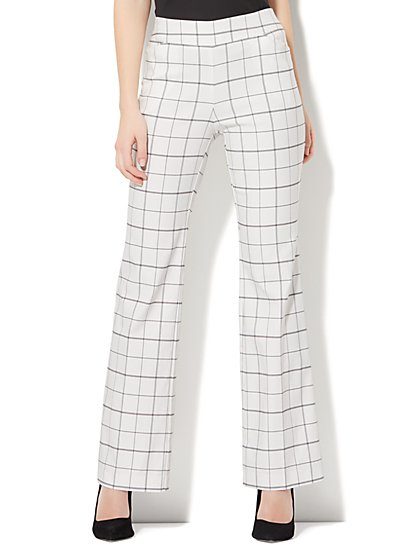 7th Avenue Pant - Pull-On Bootcut - Modern - Grid Print - New York & Company