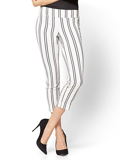 7th Avenue Pant - Pull-On Cropped Legging - Stripe - New York & Company