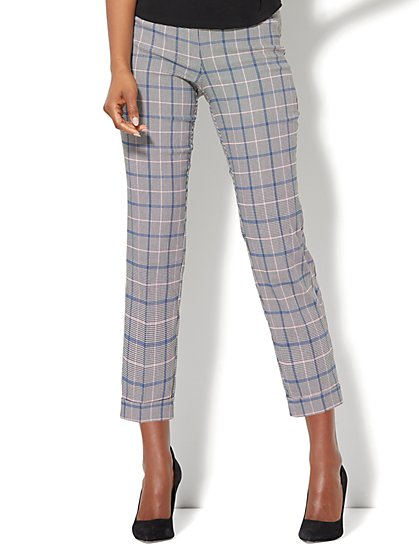 7th Avenue Pant - Pull-On Cuffed Ankle - Modern - Plaid - New York & Company