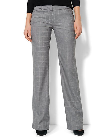 7th Avenue Pant - Signature Fit - Bootcut - Windowpane - Grey - New York & Company