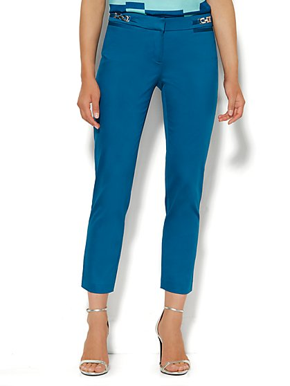 7th Avenue Pant - Signature Fit - Slim Ankle - Cotton Sateen - Hardware Detail  - New York & Company