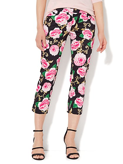 7th Avenue Pant - Signature Fit - Slim Crop - Floral Medallion - New York & Company