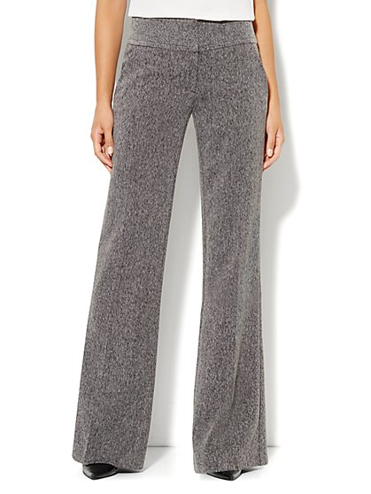 7th Avenue Pant - Signature Fit - Wide Leg Trouser - Grey - New York & Company