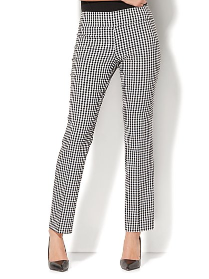 7th Avenue Pant - Slim-Leg - Modern - Pull-On - Gingham Print - New York & Company