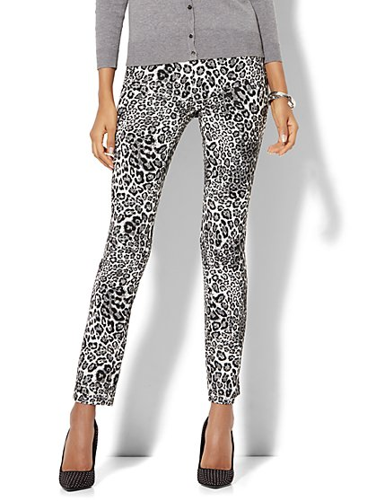 7th Avenue Pant - Slim-Leg - Signature - Pull-On - Leopard Print - New York & Company