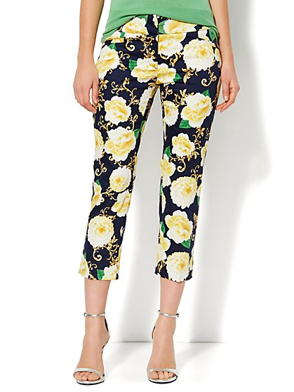 7th Avenue Pant - Slim Straight Crop - Floral Medallion - New York & Company
