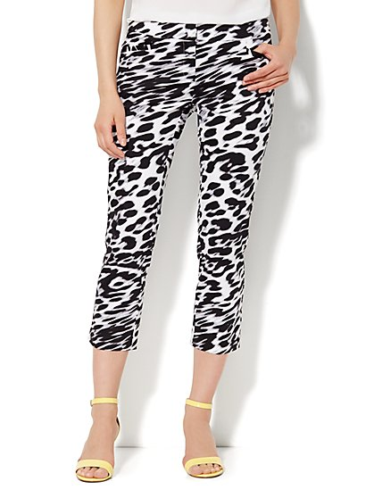 7th Avenue Pant - Slim Straight Crop - Leopard  - New York & Company