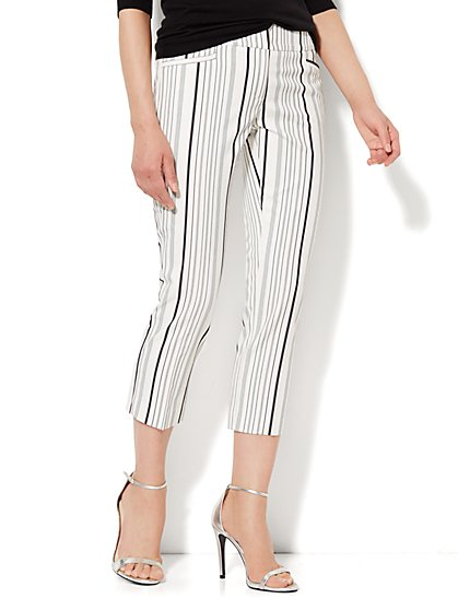 7th Avenue Pant - Slim Straight Crop - Stripe  - New York & Company
