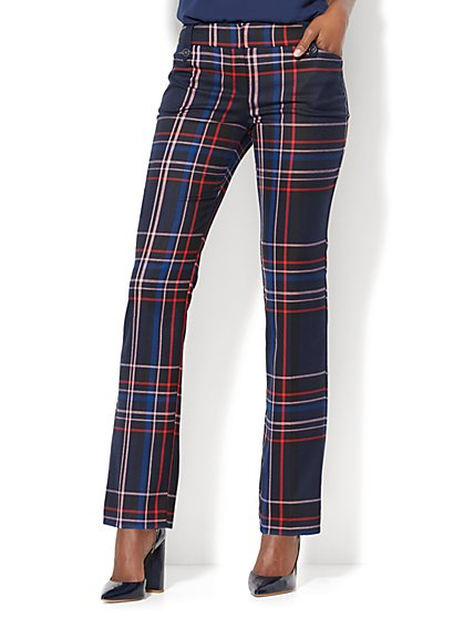 7th Avenue Pant - Straight Leg - Modern - Navy Plaid  - New York & Company