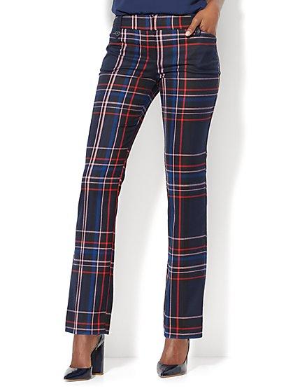 7th Avenue Pant - Straight Leg - Modern - Navy Plaid  - New York & Company