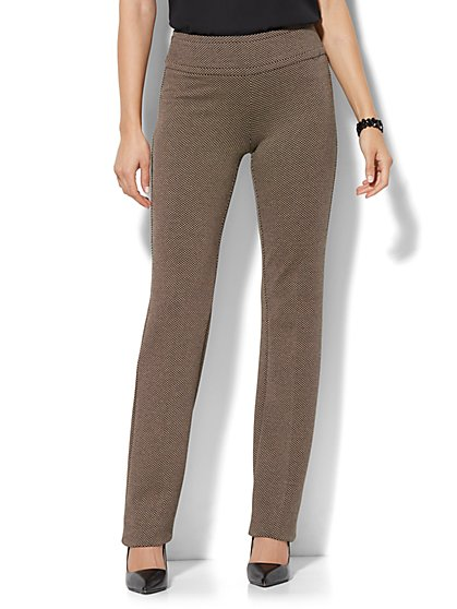7th Avenue Pant - Straight Leg - Signature - Pull-On - Ponte - Print - New York & Company