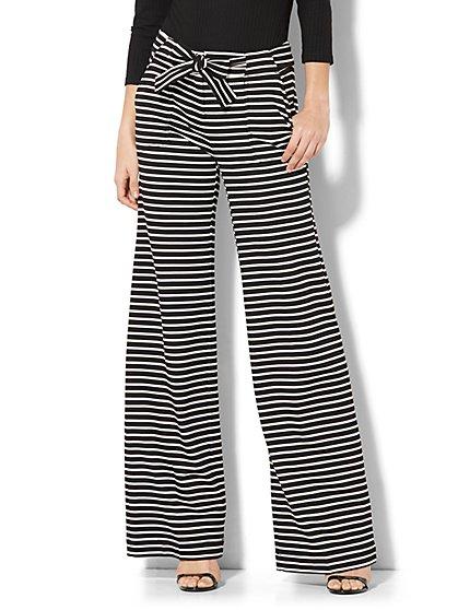 7th Avenue Pant - Wide-Leg - Black & White Stripe - Petite - New York & Company