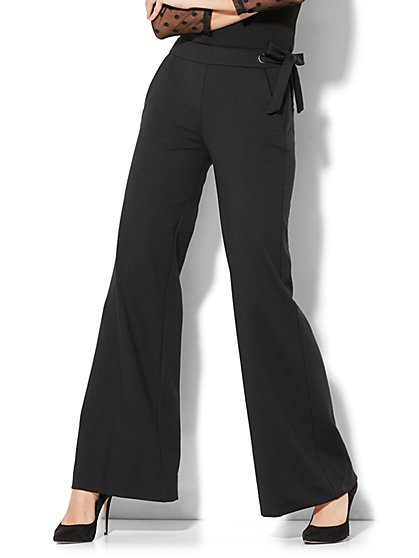 7th Avenue Pant - Wide-Leg - Ponte - Black - New York & Company