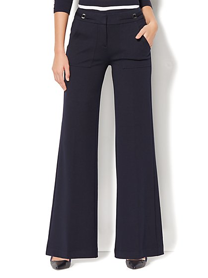 7th Avenue Pant - Wide-Leg - Ponte - Navy - New York & Company