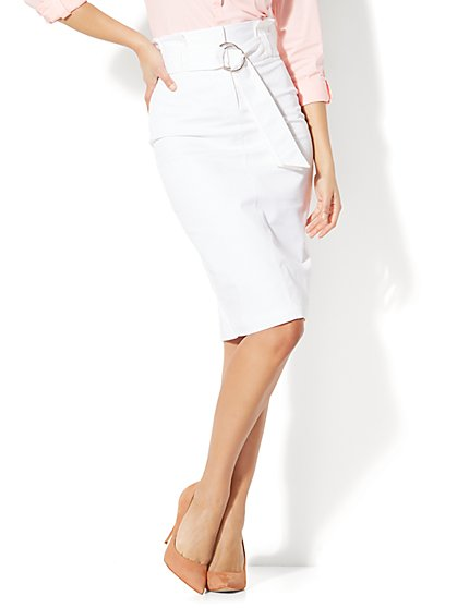 7th Avenue - Paper Bag-Waist Pencil Skirt - White - New York & Company