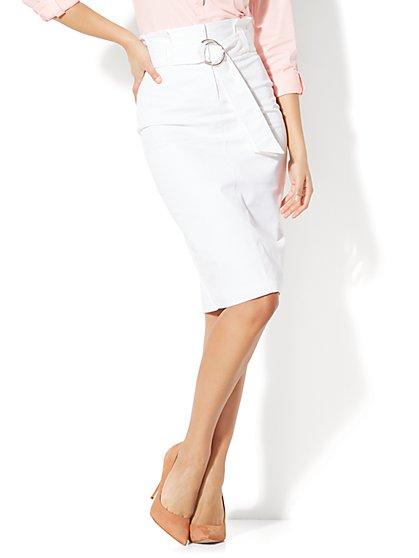 7th Avenue - Paper Bag-Waist Pencil Skirt - White - New York & Company