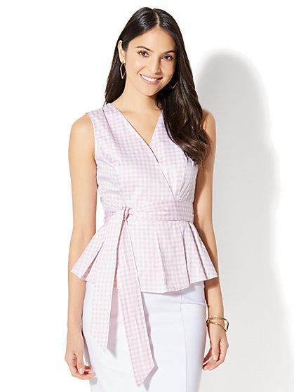 7th Avenue - Peplum Shirt - Gingham - Petite - New York & Company