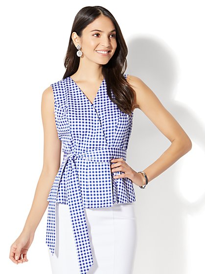 7th Avenue - Peplum Shirt - Gingham - New York & Company