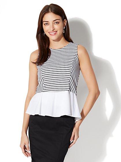 7th Avenue Peplum Top - Black & White - New York & Company