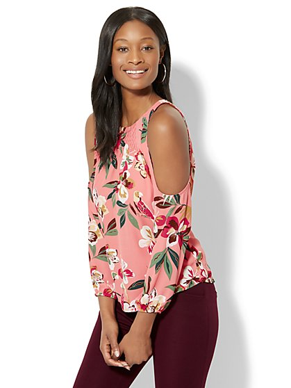 7th Avenue - Pintucked Cold-Shoulder Blouse - Pink Floral - New York & Company