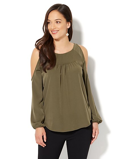 7th Avenue - Pintucked Cold-Shoulder Blouse - New York & Company