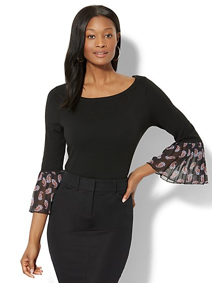 7th Avenue - Pleated Chiffon-Trim Sweater - New York & Company