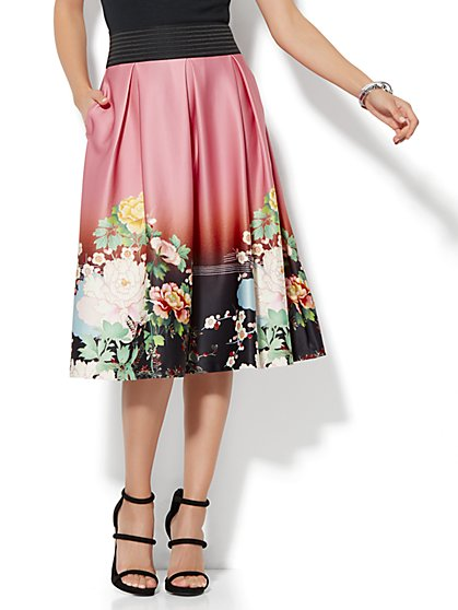 7th Avenue - Pleated Full Skirt - Floral - New York & Company