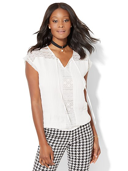 7th Avenue - Pleated Lace-Panel Blouse  - New York & Company