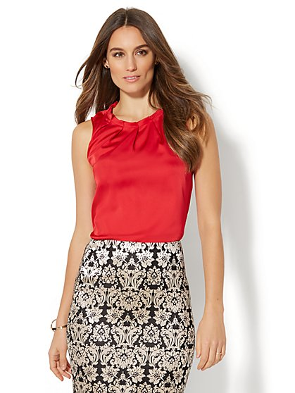 7th Avenue - Pleated Sleeveless Blouse - New York & Company