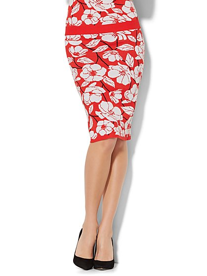 7th Avenue - Pull-On Knit Pencil Skirt - Floral - New York & Company