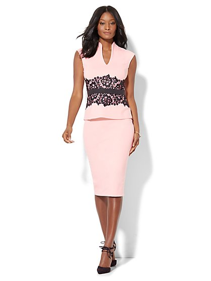 7th Avenue - Pull-On Knit Pencil Skirt - Pink - New York & Company