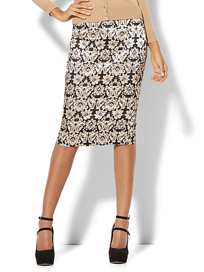 7th Avenue - Pull-On Pencil Skirt - Jacquard - New York & Company