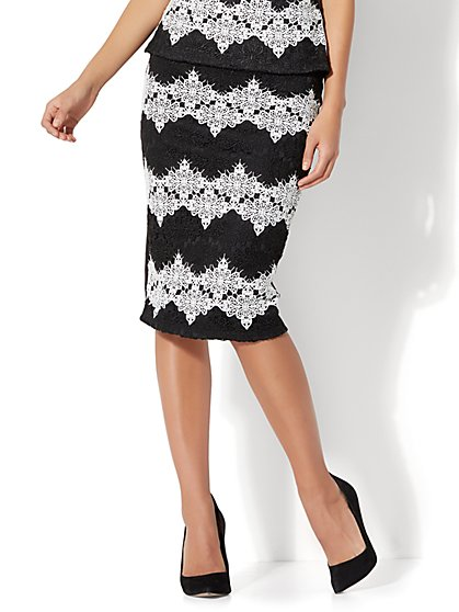 7th Avenue - Pull-On Pencil Skirt - Lace Overlay - New York & Company