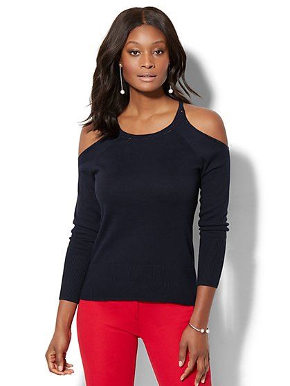 7th Avenue - Rhinestone Cold-Shoulder Sweater - New York & Company