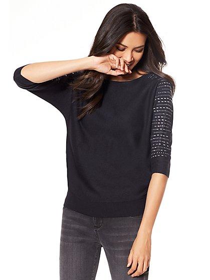 7th Avenue - Rhinestone Dolman Sweater - New York & Company