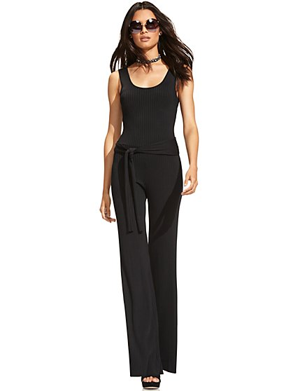 7th Avenue - Ribbed-Sweater Jumpsuit - Black  - New York & Company