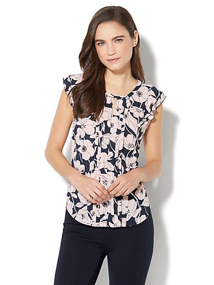 7th Avenue - Ruffled Keyhole Blouse - Floral - New York & Company