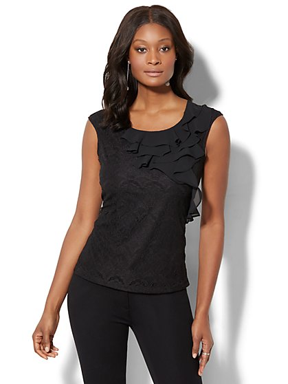 7th Avenue - Ruffled Lace Top - New York & Company