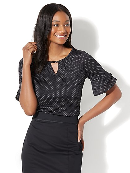 7th Avenue - Ruffled Short-Sleeve Top - Pindot Print - New York & Company