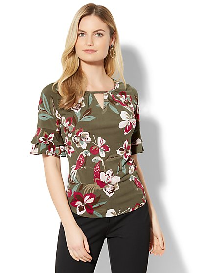 7th Avenue - Ruffled-Sleeve Keyhole Top - Tropical Print - New York & Company