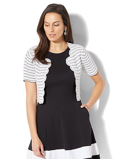 7th Avenue - Scalloped Crop Cardigan - White - New York & Company