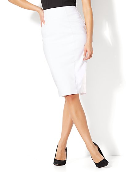 7th Avenue - Seamed Pencil Skirt - White - Tall - New York & Company